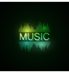 Music neon sign with digital music equalizer vector