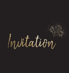 New years eve party invitation gold foil vector