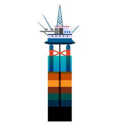 Oil platform at sea flat vector