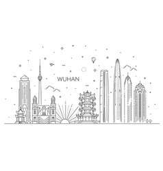 outline wuhan china city skyline vector image