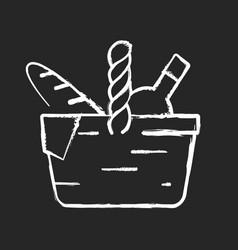Picnic basket chalk white icon on black background vector