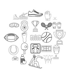 Professional athlete icons set outline style vector