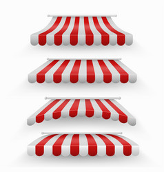 Realistic shopping red and white striped awnings vector