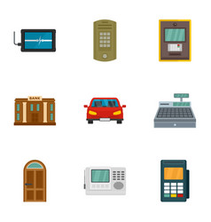 Secured finance icon set flat style vector