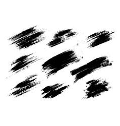 Set black paint ink brush strokes lines vector