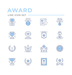 Set color line icons award vector