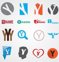 Set of alphabet symbols of letter Y vector image