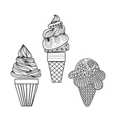 Set of delicious ice-creams doodle style Different vector image