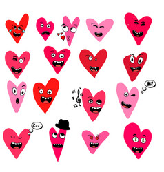 set of emoticon with hearts isolated on white vector image