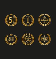 set of golden laurel wreaths on black background vector image