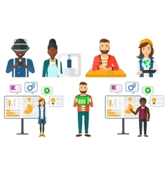 Set of people using modern technologies vector