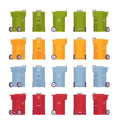 set of trash bins on wheels different colors and vector image