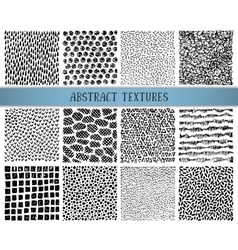 Set of twelve hand drawn ink abstract textures vector