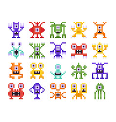set pixel monsters retro design for computer vector image