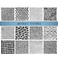 set twelve hand drawn ink abstract textures vector image