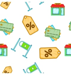 Shopping pattern cartoon style vector image