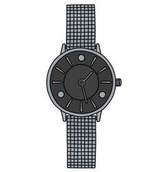 Silver ladies wrist watches vector