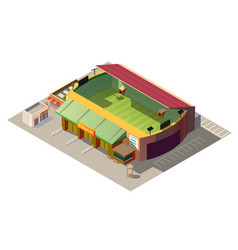 soccer stadium building low poly isometric vector image