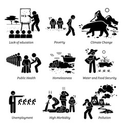 Social issues and critical problems pictograph vector