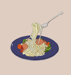 Spaghetti hand drawn sketch vector