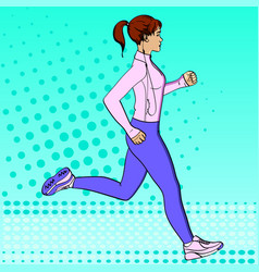 Sport girl jogging pop art retro vector