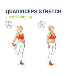 Standing quadriceps stretch women home workout vector