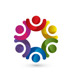 Teamwork people in a circle meeting group icon vector