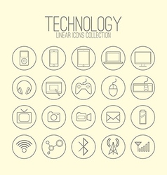 Technology linear icons vector