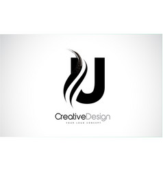 U letter logo design brush paint stroke artistic vector