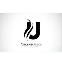 U letter logo design brush paint stroke artistic vector
