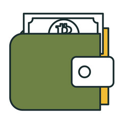Wallet with bitcoins icon vector