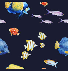 watercolor sea life pattern vector image