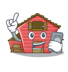 With phone character red barn building with vector