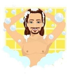 Young man washing his hair with shampoo vector image