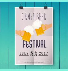 craft beer festival two hands holding beer glass vector image