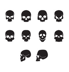 flat black home skull icon set vector image vector image