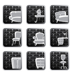 furniture buttons vector image
