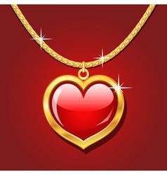Golden necklace with ruby heart vector image vector image