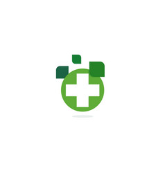 green cross logo eco healing herbs pharmacy vector image vector image