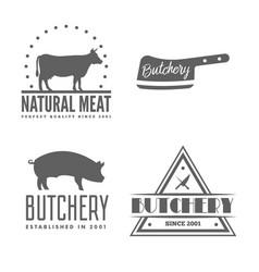 set of butchery labels badges and design vector image