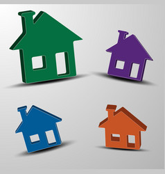 the set of 3d houses vector image vector image