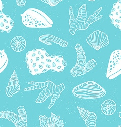 Blue seamless pattern with sea treasures - corals vector image vector image