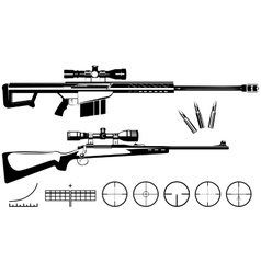 Set of firearms sniper rifles and targets vector image
