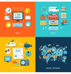 Social media and network connection concept vector image vector image