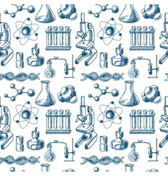 Chemistry equipment sketch seamless vector image vector image