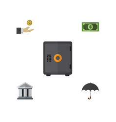 Flat icon gain set of greenback hand with coin vector