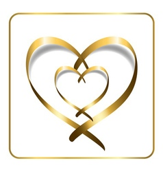gold heart ribbon 2 vector image
