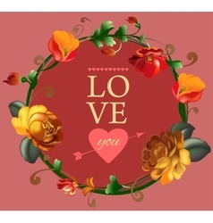Love you card with beautiful vintage flowers vector image vector image