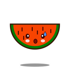 water melon apple fruit cartoon character icon vector image