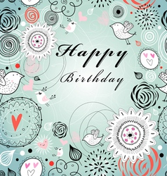 floral greeting card for birthday vector image vector image